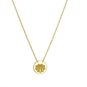 14K Yellow Gold Mini Disk Etched Shell Necklace